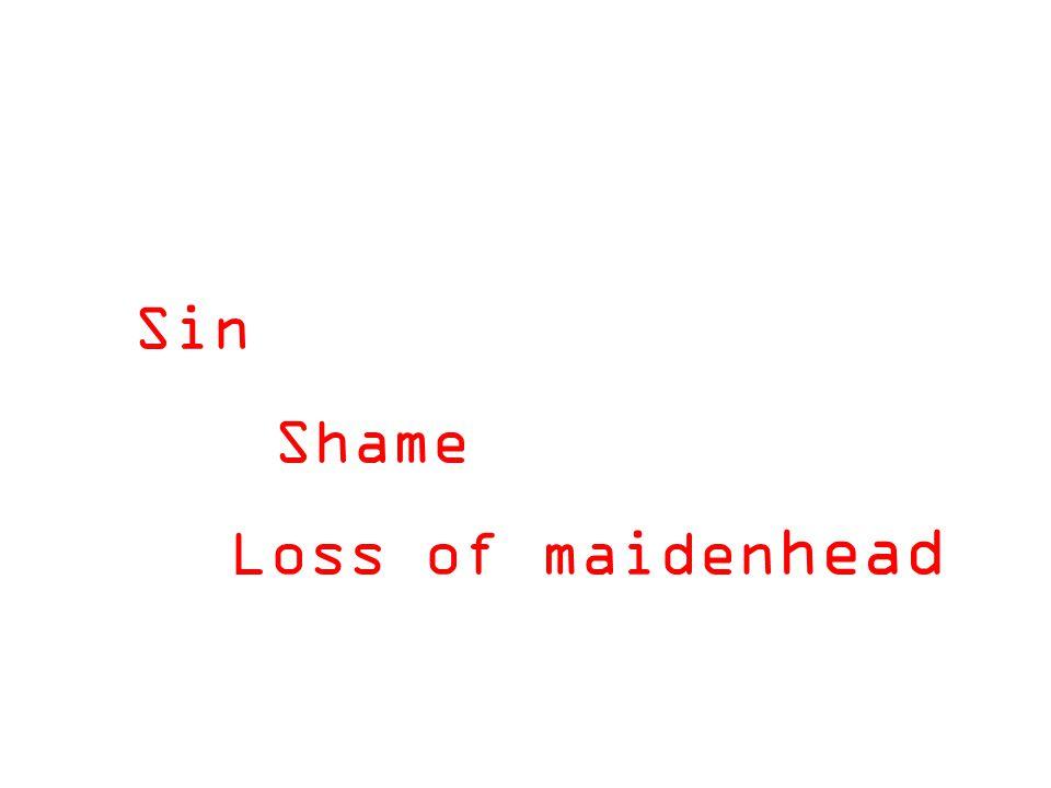 Sin Shame Loss of maiden head