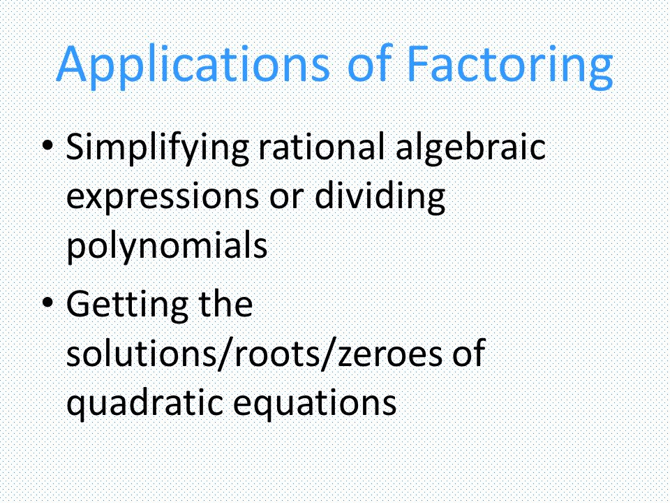 Quadratic Formula An alternative way of solving for the roots/zeroes of a quadratic equation