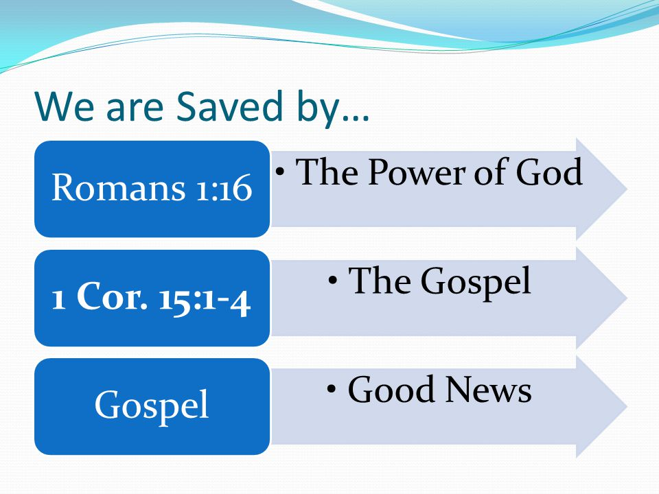 We are Saved by… The Power of God Romans 1:16 The Gospel 1 Cor. 15:1-4 Good News Gospel