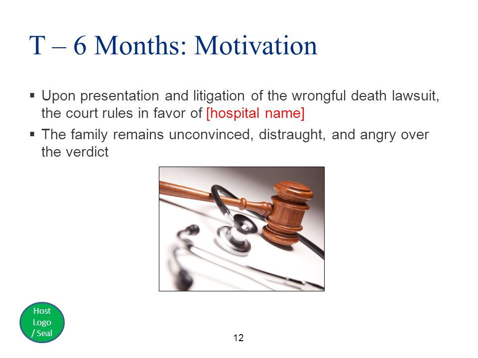 Host Logo / Seal T – 6 Months: Motivation  Upon presentation and litigation of the wrongful death lawsuit, the court rules in favor of [hospital name]  The family remains unconvinced, distraught, and angry over the verdict 12