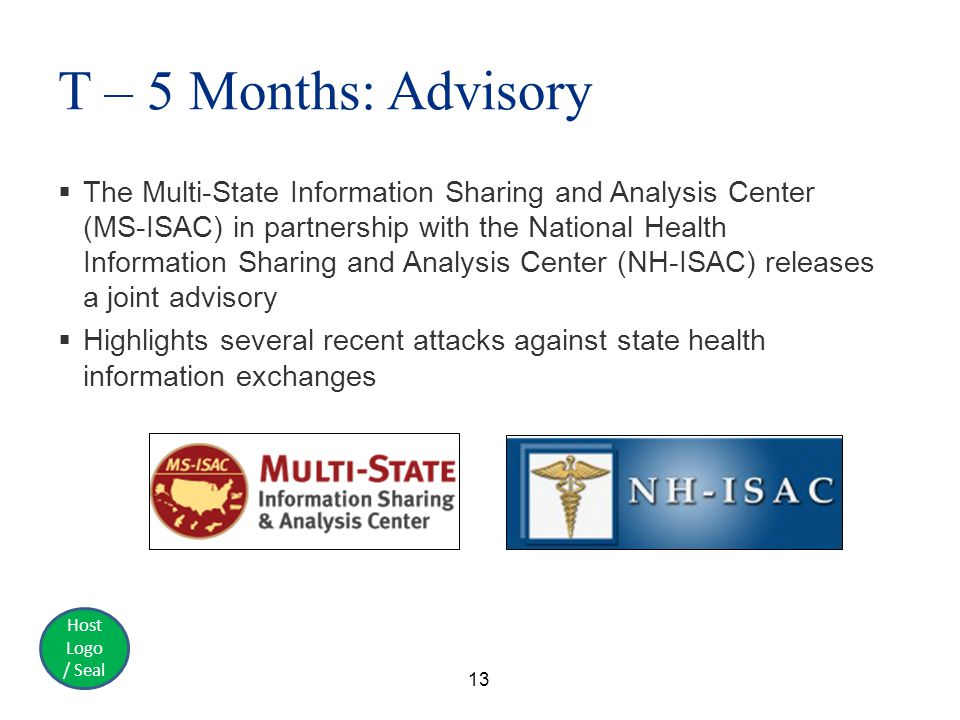 Host Logo / Seal T – 5 Months: Advisory  The Multi-State Information Sharing and Analysis Center (MS-ISAC) in partnership with the National Health Information Sharing and Analysis Center (NH-ISAC) releases a joint advisory  Highlights several recent attacks against state health information exchanges 13