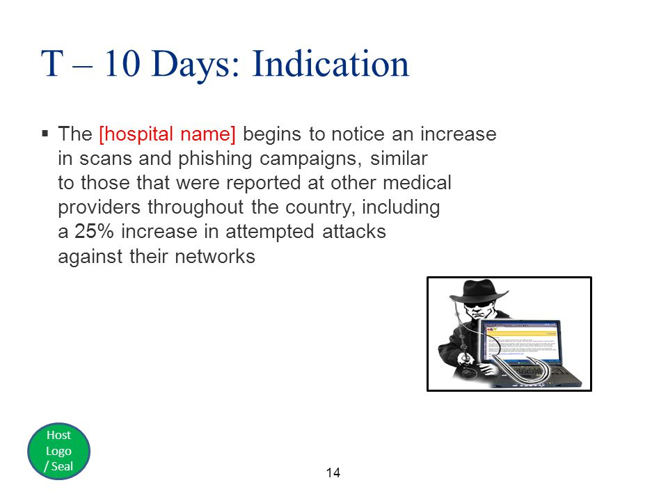 Host Logo / Seal T – 10 Days: Indication  The [hospital name] begins to notice an increase in scans and phishing campaigns, similar to those that were reported at other medical providers throughout the country, including a 25% increase in attempted attacks against their networks 14