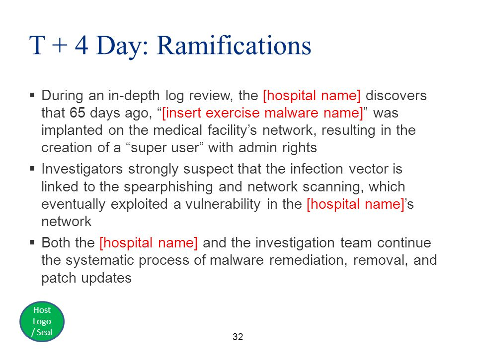 Host Logo / Seal T + 4 Day: Ramifications  During an in-depth log review, the [hospital name] discovers that 65 days ago, [insert exercise malware name] was implanted on the medical facility's network, resulting in the creation of a super user with admin rights  Investigators strongly suspect that the infection vector is linked to the spearphishing and network scanning, which eventually exploited a vulnerability in the [hospital name]'s network  Both the [hospital name] and the investigation team continue the systematic process of malware remediation, removal, and patch updates 32