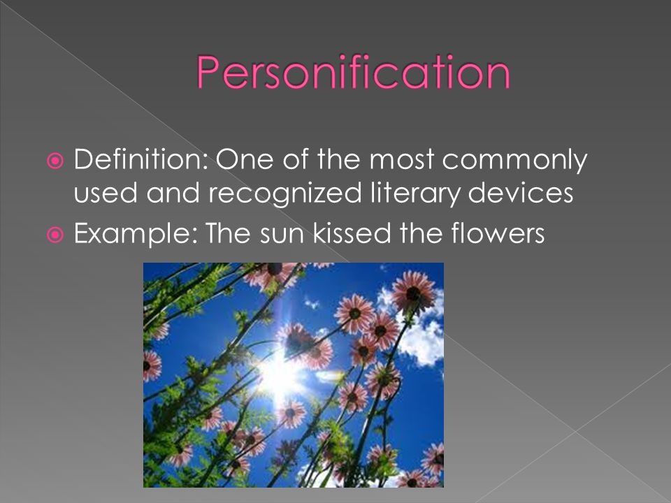  Definition: One of the most commonly used and recognized literary devices  Example: The sun kissed the flowers