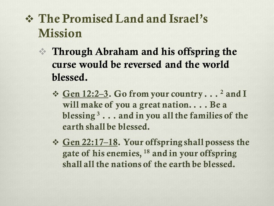  The Promised Land and Israel's Mission  Through Abraham and his offspring the curse would be reversed and the world blessed.