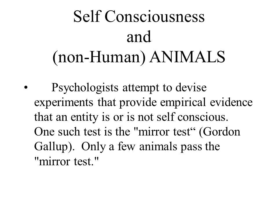 Self Consciousness and (non-Human) ANIMALS Psychologists attempt to devise experiments that provide empirical evidence that an entity is or is not sel