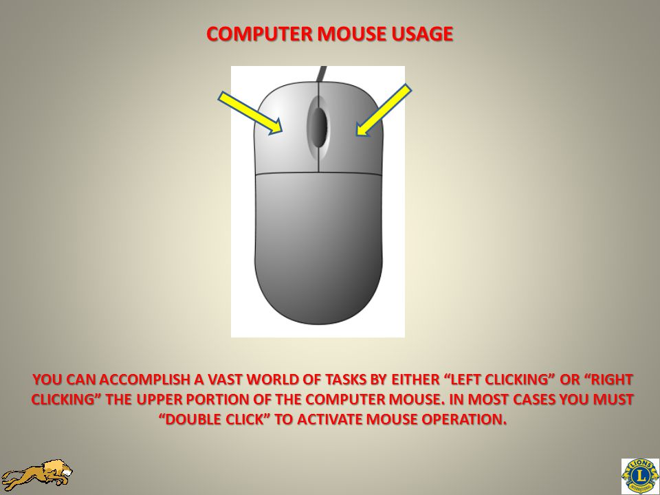 YOU CAN ACCOMPLISH A VAST WORLD OF TASKS BY EITHER LEFT CLICKING OR RIGHT CLICKING THE UPPER PORTION OF THE COMPUTER MOUSE.