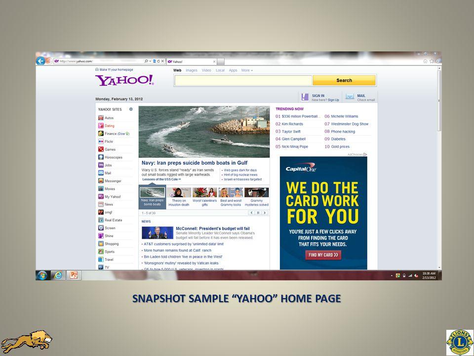 SNAPSHOT SAMPLE YAHOO HOME PAGE