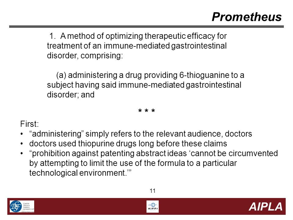 11 AIPLA 11 1. A method of optimizing therapeutic efficacy for treatment of an immune-mediated gastrointestinal disorder, comprising: (a) administerin