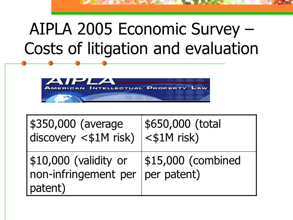 AIPLA 2005 Economic Survey – Costs of litigation and evaluation $350,000 (average discovery <$1M risk) $650,000 (total <$1M risk) $10,000 (validity or non-infringement per patent) $15,000 (combined per patent)