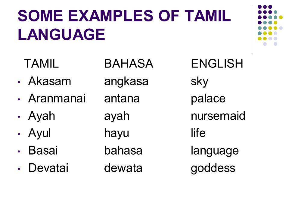 SOME EXAMPLES OF TAMIL LANGUAGE TAMILBAHASAENGLISH Akasamangkasasky Aranmanaiantanapalace Ayahayahnursemaid Ayulhayulife Basaibahasalanguage Devataide