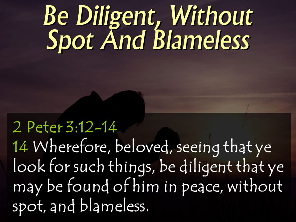 2 Peter 3:12-14 14 Wherefore, beloved, seeing that ye look for such things, be diligent that ye may be found of him in peace, without spot, and blamel