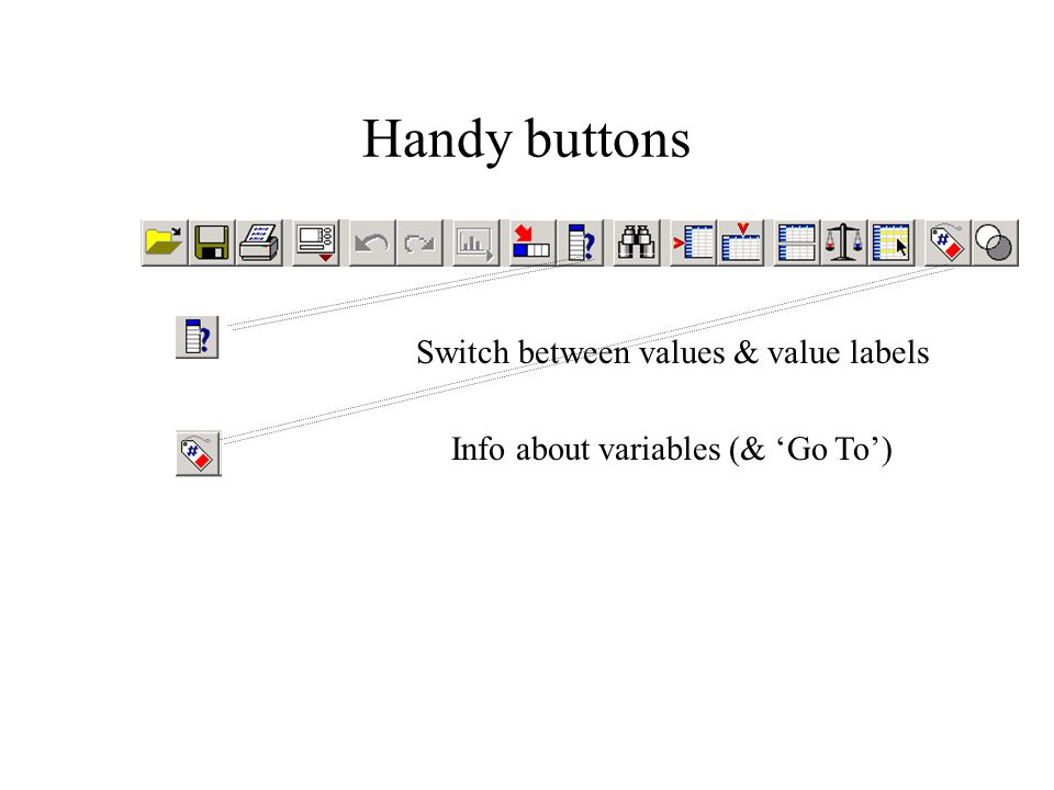 Handy buttons Switch between values & value labels Info about variables (& 'Go To')