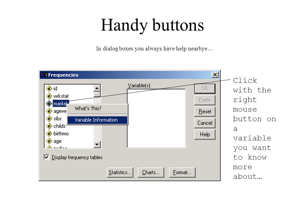 Handy buttons Click with the right mouse button on a variable you want to know more about… In dialog boxes you always have help nearbye…