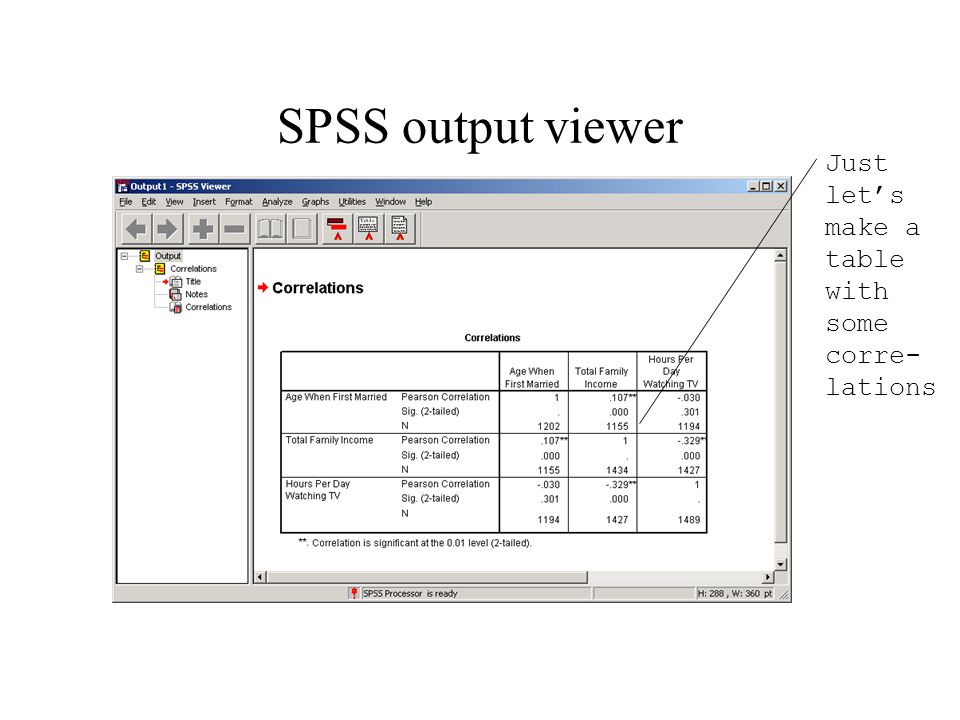 SPSS output viewer Just let's make a table with some corre- lations