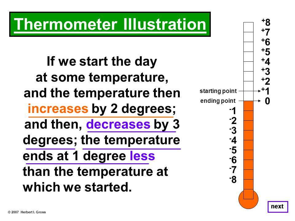 If we start the day at some temperature, and the temperature then increases by 2 degrees; and then, decreases by 3 degrees; the temperature ends at 1 degree less than the temperature at which we started.