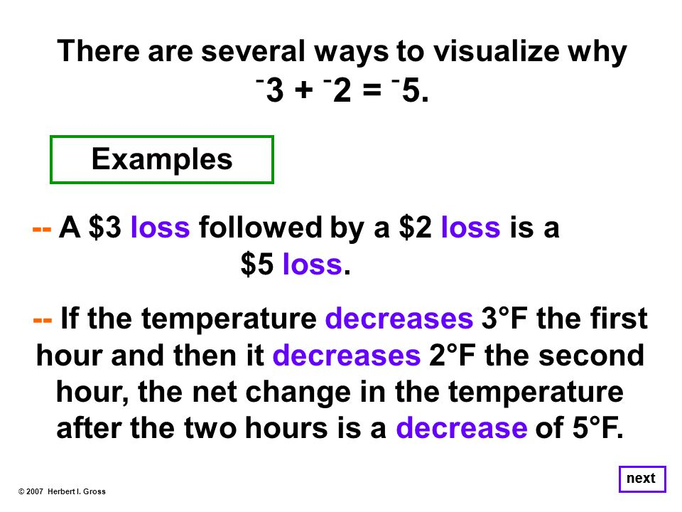 There are several ways to visualize why ־ 3 + ־ 2 = ־ 5. © 2007 Herbert I. Gross next -- A $3 loss followed by a $2 loss is a $5 loss. -- If the tempe