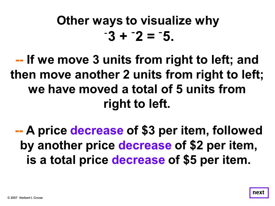 Other ways to visualize why ־ 3 + ־ 2 = ־ 5. © 2007 Herbert I.