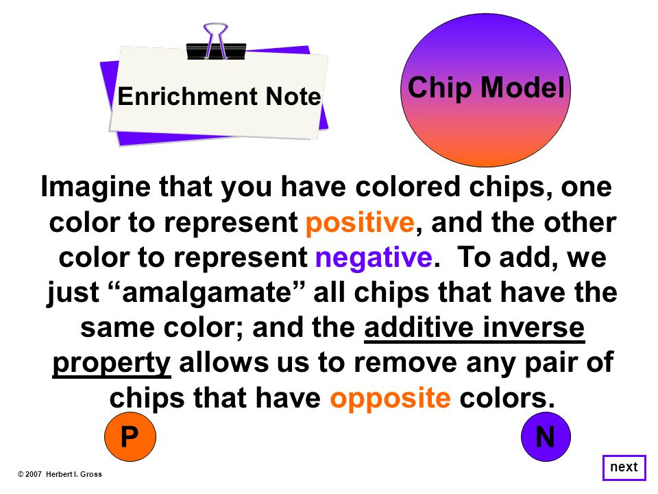 Enrichment Note © 2007 Herbert I. Gross Imagine that you have colored chips, one color to represent positive, and the other color to represent negativ
