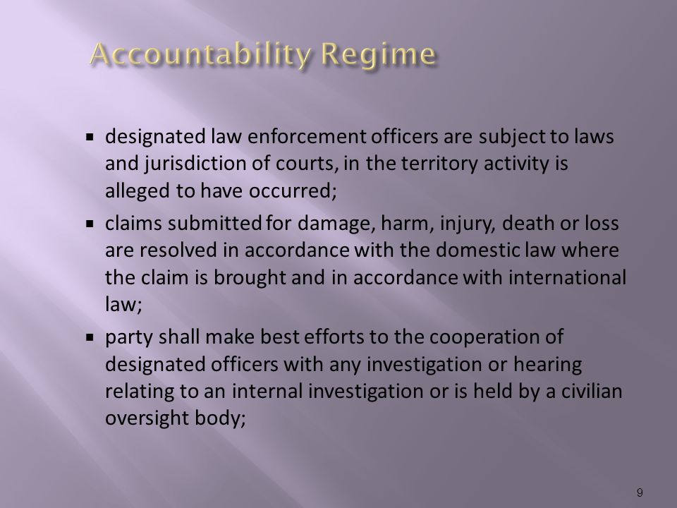  each participating agency is responsible for the review and discipline of its participating officers;  a provision exists where a Party may decline to cooperate;  the declining party shall inform the other party, and consult to determine whether limited or conditional assistance can still be provided.