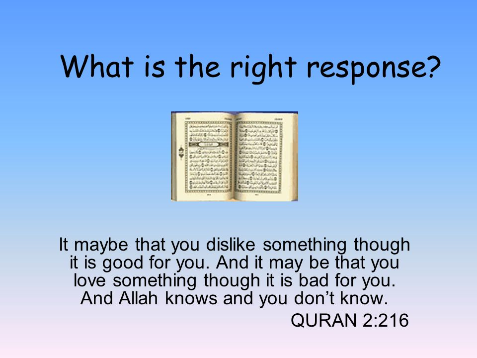 What is the right response? It maybe that you dislike something though it is good for you. And it may be that you love something though it is bad for