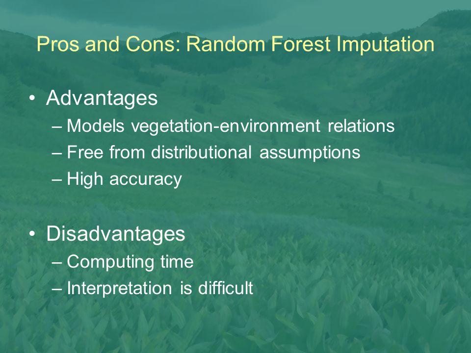Advantages –Models vegetation-environment relations –Free from distributional assumptions –High accuracy Disadvantages –Computing time –Interpretation