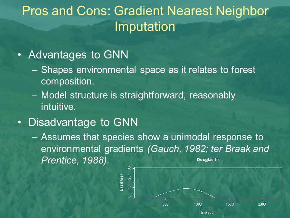 Advantages to GNN –Shapes environmental space as it relates to forest composition. –Model structure is straightforward, reasonably intuitive. Disadvan