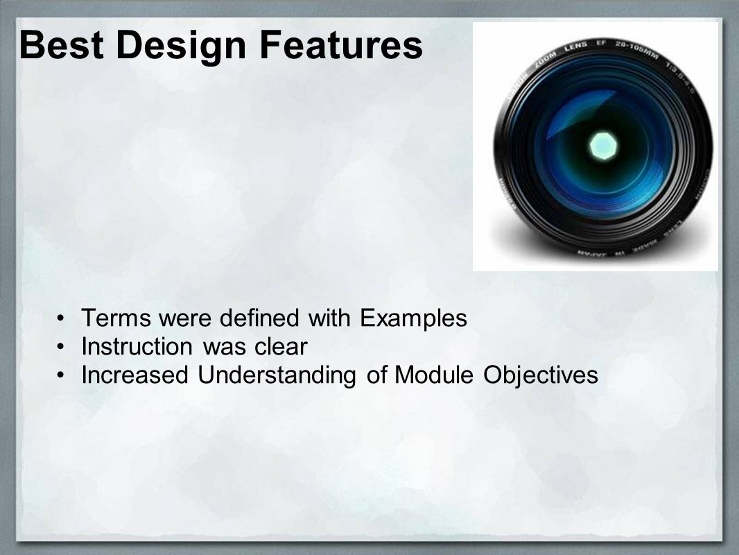 Best Design Features Terms were defined with Examples Instruction was clear Increased Understanding of Module Objectives