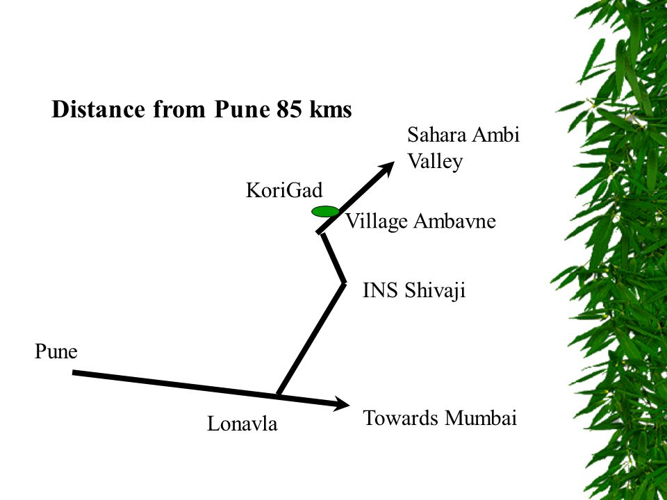 Distance from Pune 85 kms Pune Towards Mumbai Lonavla INS Shivaji Sahara Ambi Valley Village Ambavne KoriGad