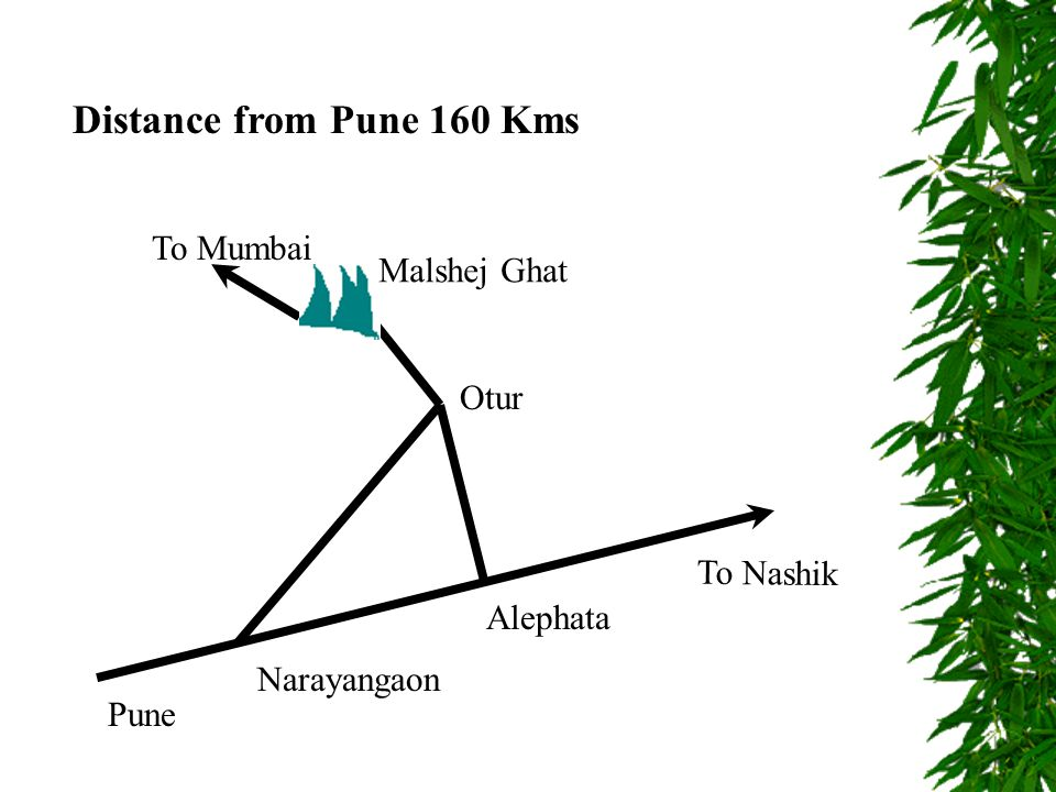 Distance from Pune 160 Kms Pune To Nashik To Mumbai Alephata Narayangaon Otur Malshej Ghat
