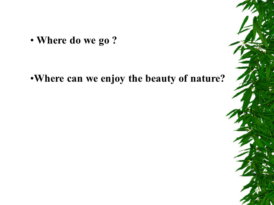 Where do we go ? Where can we enjoy the beauty of nature?
