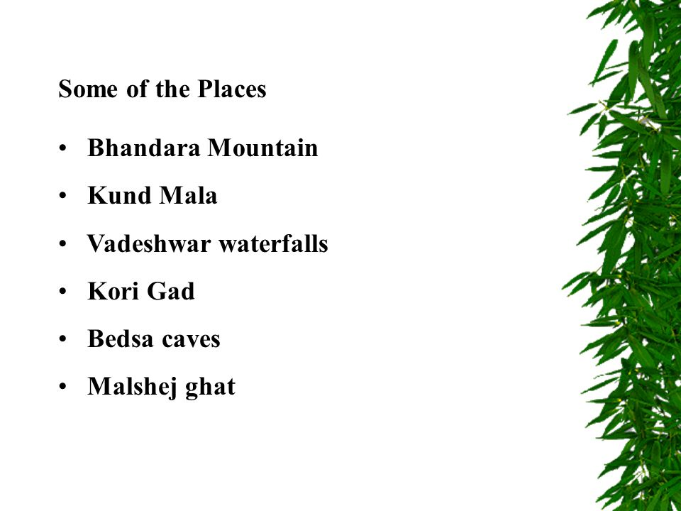 Bhandara Mountain Kund Mala Vadeshwar waterfalls Kori Gad Bedsa caves Malshej ghat Some of the Places