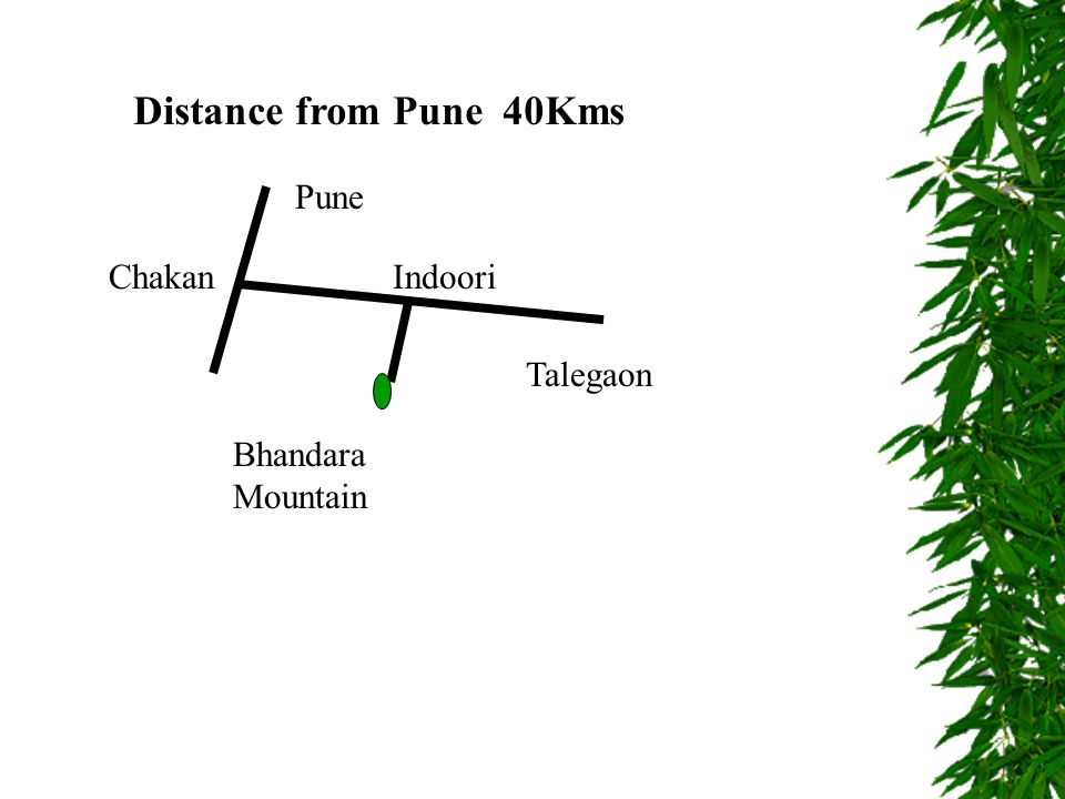 Distance from Pune 40Kms Pune Chakan Talegaon Bhandara Mountain Indoori