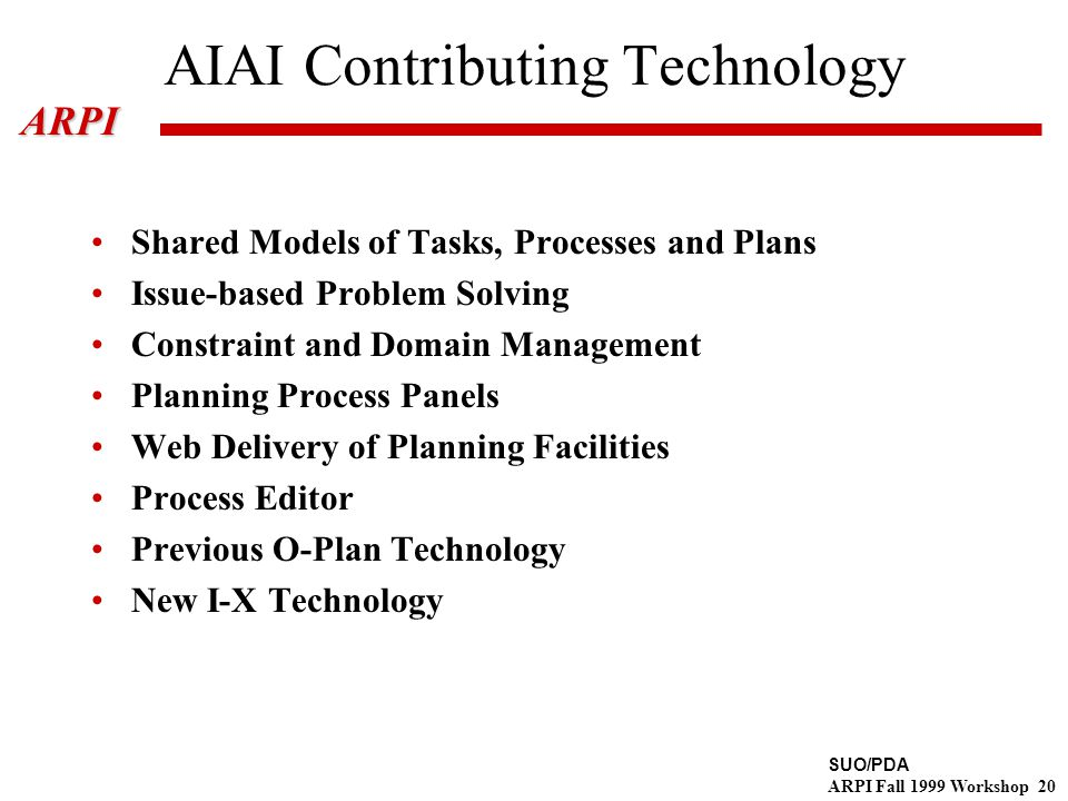 SUO/PDA ARPI Fall 1999 Workshop 20ARPI AIAI Contributing Technology Shared Models of Tasks, Processes and Plans Issue-based Problem Solving Constraint and Domain Management Planning Process Panels Web Delivery of Planning Facilities Process Editor Previous O-Plan Technology New I-X Technology