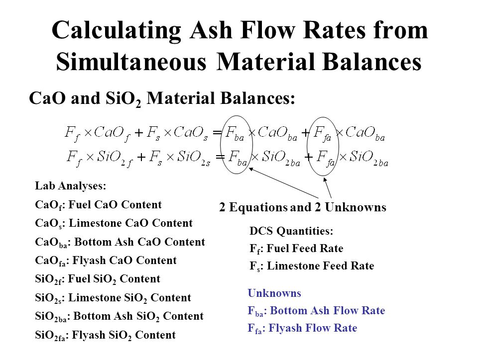 Calculating Ash Flow Rates from Simultaneous Material Balances CaO and SiO 2 Material Balances: DCS Quantities: F f : Fuel Feed Rate F s : Limestone F