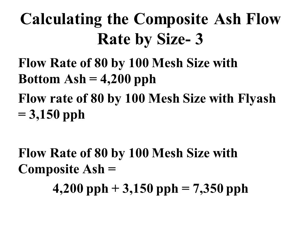 Calculating the Composite Ash Flow Rate by Size- 3 Flow Rate of 80 by 100 Mesh Size with Bottom Ash = 4,200 pph Flow rate of 80 by 100 Mesh Size with