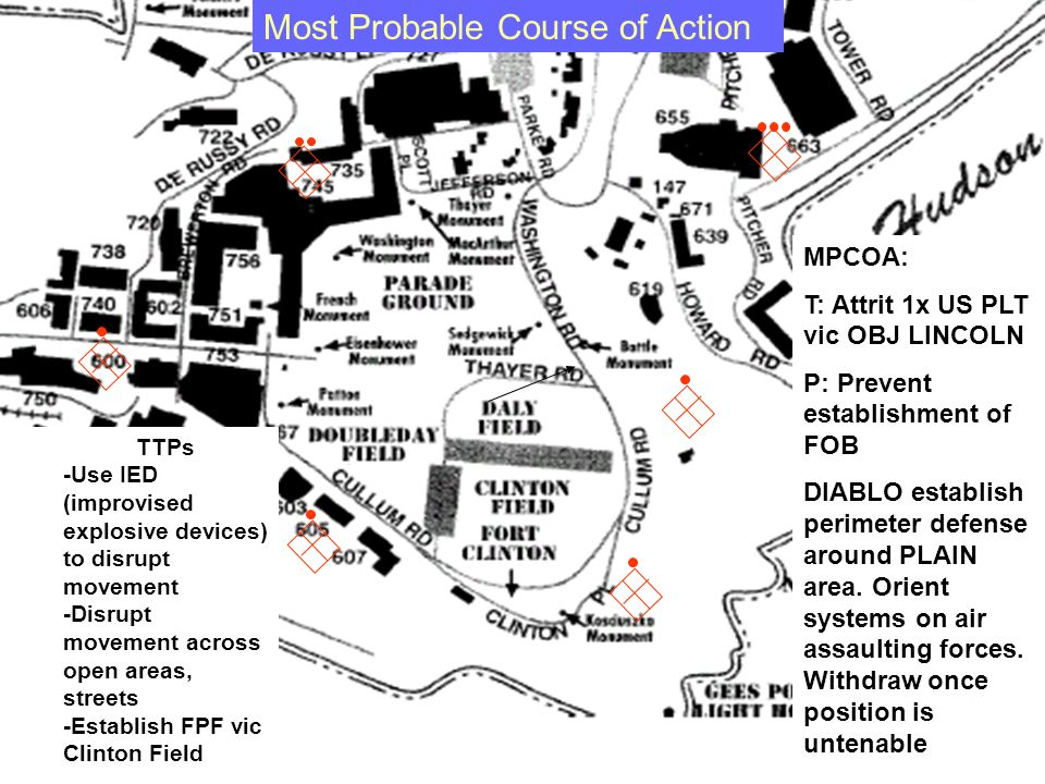 MPCOA: T: Attrit 1x US PLT vic OBJ LINCOLN P: Prevent establishment of FOB DIABLO establish perimeter defense around PLAIN area.