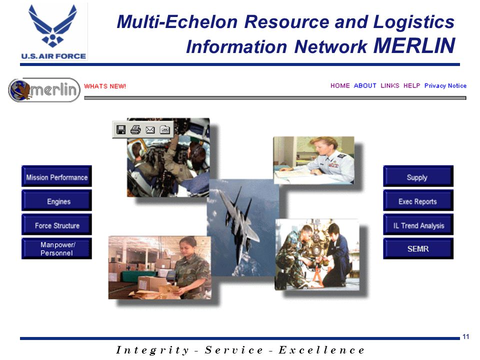 I n t e g r i t y - S e r v i c e - E x c e l l e n c e 11 Multi-Echelon Resource and Logistics Information Network MERLIN