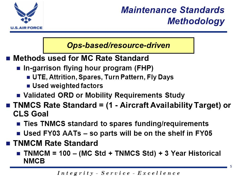 I n t e g r i t y - S e r v i c e - E x c e l l e n c e 5 Ops-based/resource-driven Methods used for MC Rate Standard In-garrison flying hour program (FHP) UTE, Attrition, Spares, Turn Pattern, Fly Days Used weighted factors Validated ORD or Mobility Requirements Study TNMCS Rate Standard = (1 - Aircraft Availability Target) or CLS Goal Ties TNMCS standard to spares funding/requirements Used FY03 AATs – so parts will be on the shelf in FY05 TNMCM Rate Standard TNMCM = 100 – (MC Std + TNMCS Std) + 3 Year Historical NMCB Maintenance Standards Methodology