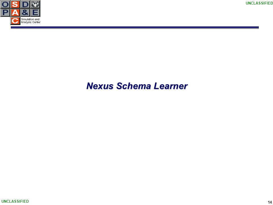UNCLASSIFIED 14 Nexus Schema Learner