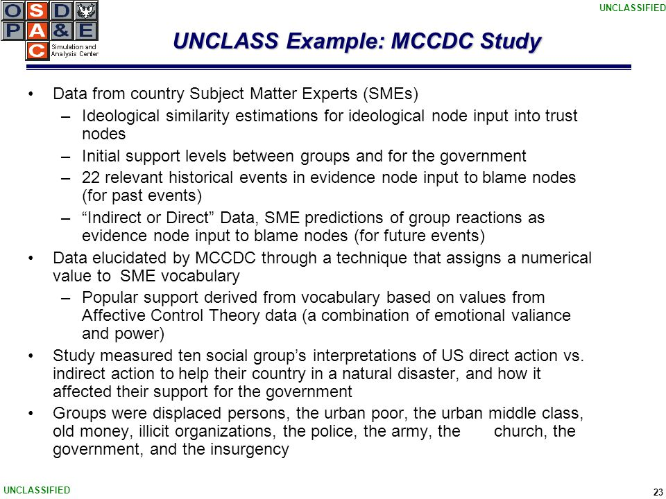 UNCLASSIFIED 23 UNCLASS Example: MCCDC Study Data from country Subject Matter Experts (SMEs) –Ideological similarity estimations for ideological node input into trust nodes –Initial support levels between groups and for the government –22 relevant historical events in evidence node input to blame nodes (for past events) – Indirect or Direct Data, SME predictions of group reactions as evidence node input to blame nodes (for future events) Data elucidated by MCCDC through a technique that assigns a numerical value to SME vocabulary –Popular support derived from vocabulary based on values from Affective Control Theory data (a combination of emotional valiance and power) Study measured ten social group's interpretations of US direct action vs.