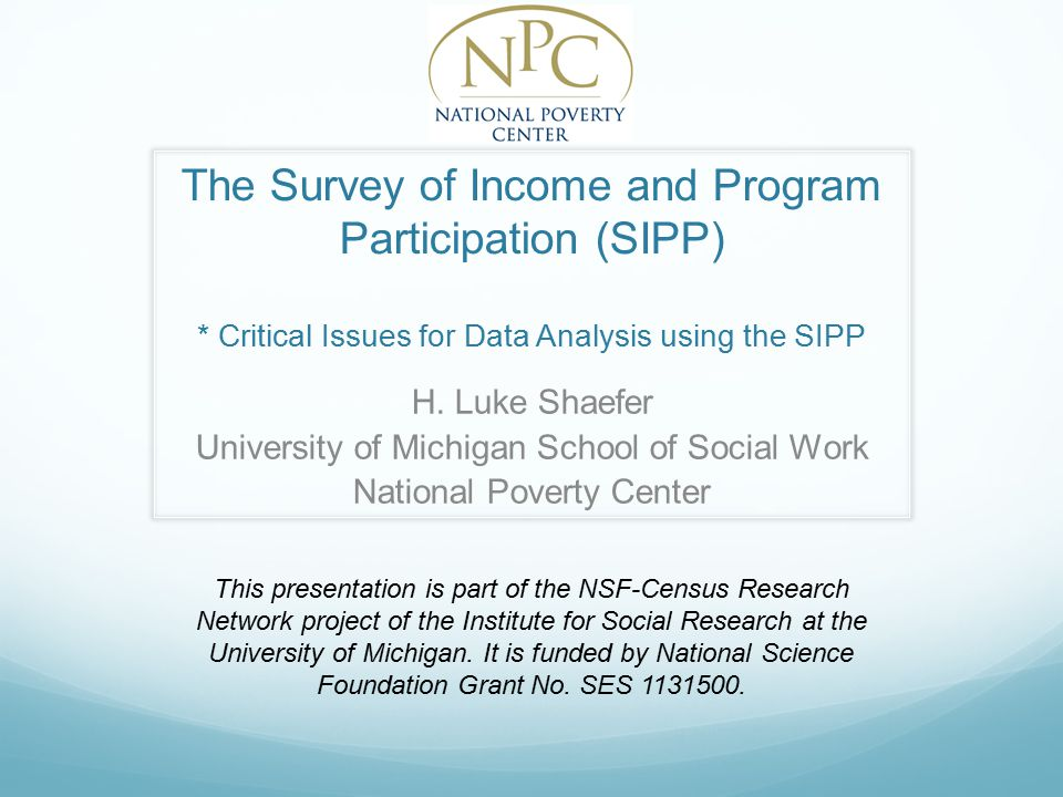 The Survey of Income and Program Participation (SIPP) * Critical Issues for Data Analysis using the SIPP H.