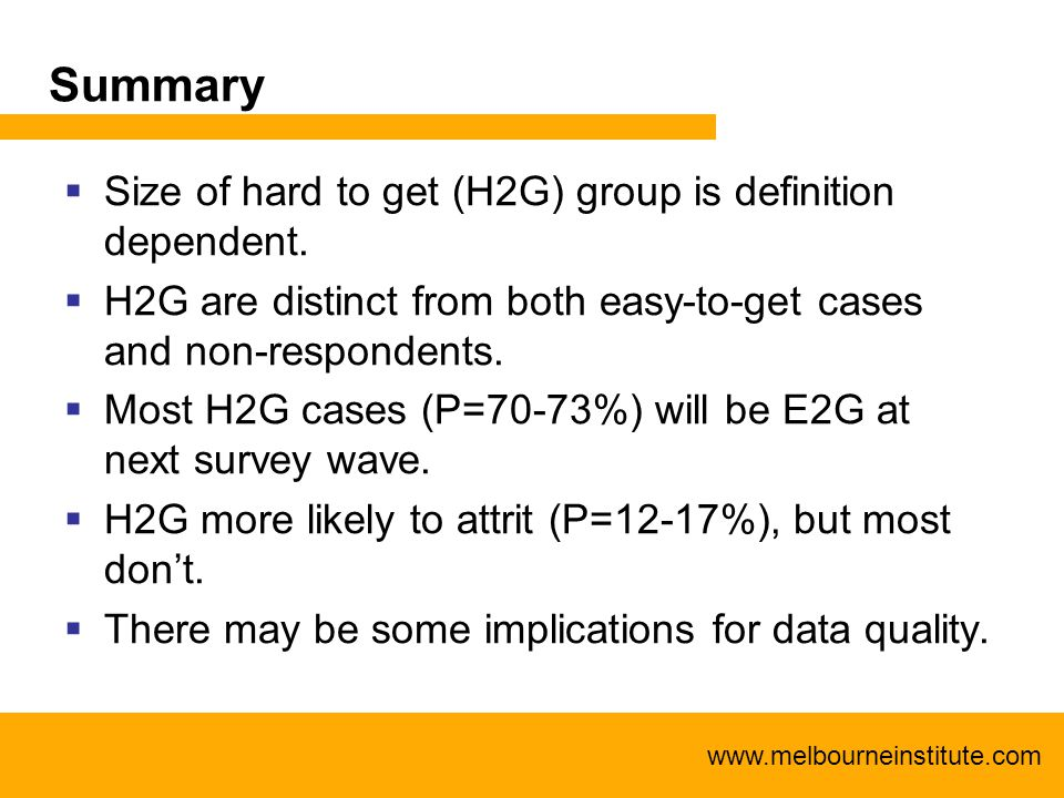 www.melbourneinstitute.com Summary  Size of hard to get (H2G) group is definition dependent.