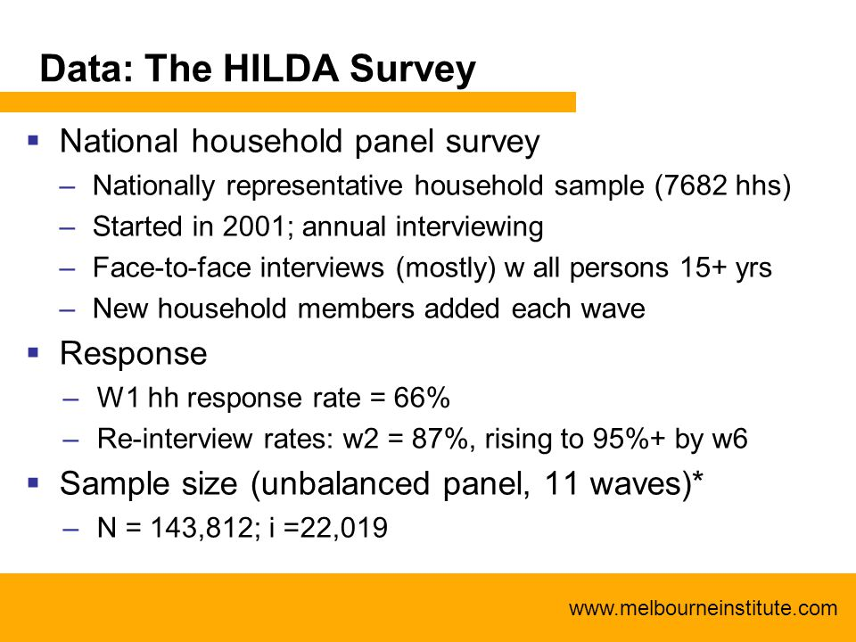 www.melbourneinstitute.com Data: The HILDA Survey  National household panel survey –Nationally representative household sample (7682 hhs) –Started in 2001; annual interviewing –Face-to-face interviews (mostly) w all persons 15+ yrs –New household members added each wave  Response –W1 hh response rate = 66% –Re-interview rates: w2 = 87%, rising to 95%+ by w6  Sample size (unbalanced panel, 11 waves)* –N = 143,812; i =22,019