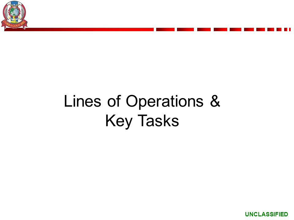 UNCLASSIFIED Lines of Operations & Key Tasks