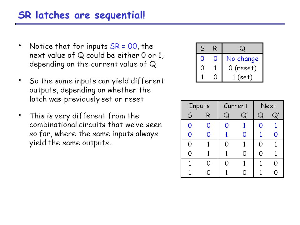 SR latches are sequential.