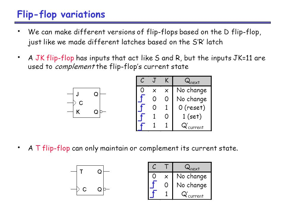 Flip-flop variations We can make different versions of flip-flops based on the D flip-flop, just like we made different latches based on the S'R' latch A JK flip-flop has inputs that act like S and R, but the inputs JK=11 are used to complement the flip-flop's current state A T flip-flop can only maintain or complement its current state.