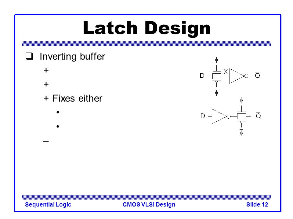 CMOS VLSI DesignSequential LogicSlide 12 Latch Design  Inverting buffer + +Fixes either –