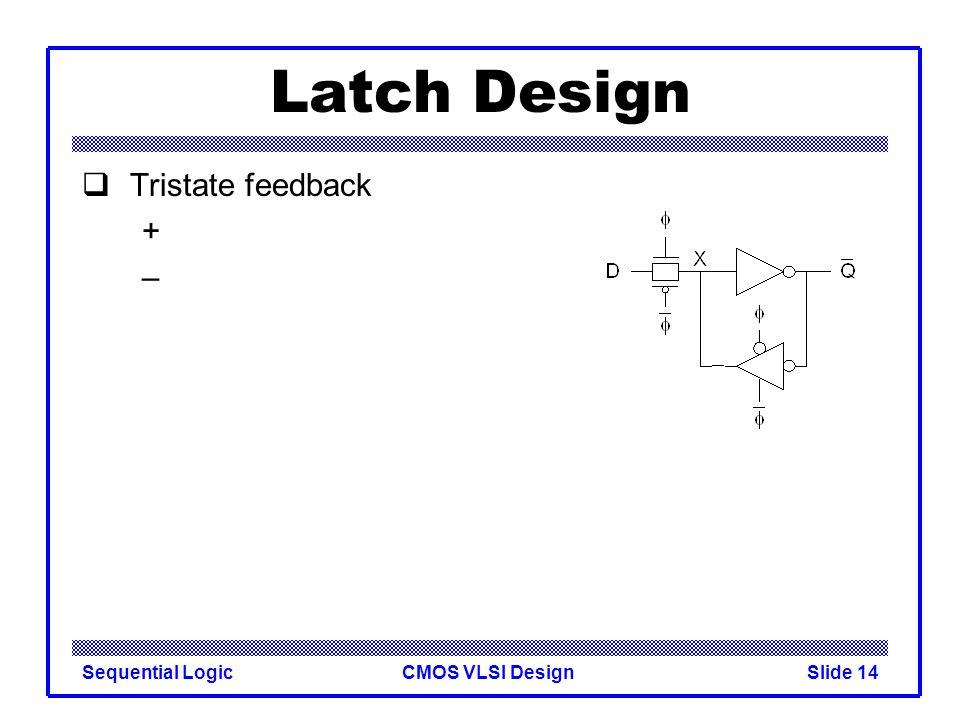 CMOS VLSI DesignSequential LogicSlide 14 Latch Design  Tristate feedback + –