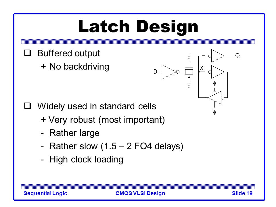 CMOS VLSI DesignSequential LogicSlide 19 Latch Design  Buffered output +No backdriving  Widely used in standard cells + Very robust (most important) -Rather large -Rather slow (1.5 – 2 FO4 delays) -High clock loading